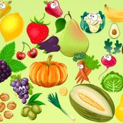 Cartoon depiction of the many fruit and vegetables available at the farmers' market.