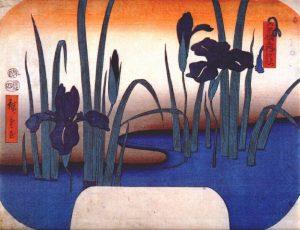 Utagawa Hiroshige painting of Iris garden.