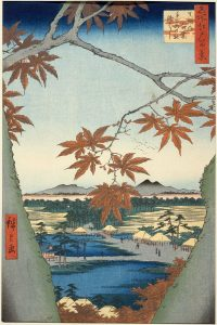 Woodcut by Hiroshige depcting maple leaves