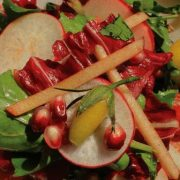 Macrobiotic salad of pomegranate, radish and carrot prepared by Lars Skalman