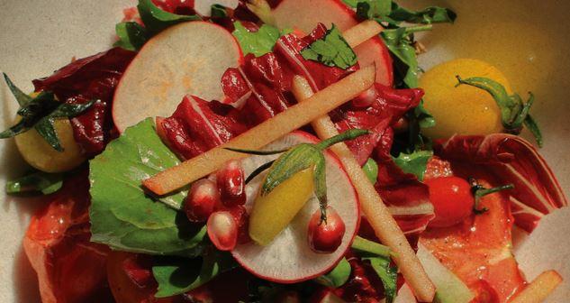 Macrobiotic salad of pomegranate, radish and carrot prepared by Lars Skalman