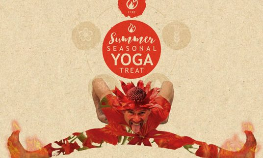 Shizuka Ryokan is hosting a Summer seasonal yoga treat. Postcard featuring Lars Skalman and red flowers